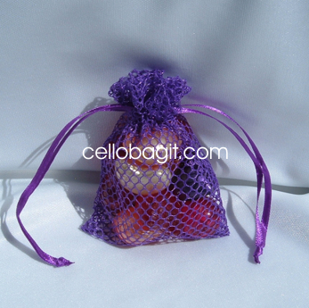 Wedding Favor Mesh Bags : mesh fishnet wedding favor gift bags jewelry pouches purple 10 bags ...